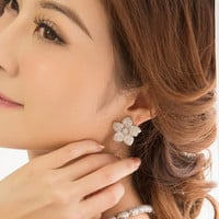 ON SALE TILL 4/6 Earrings for sale Flower earrings  Lead free platinum plated with high quality of Cubic zirconia Women earrings party Casua
