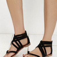 Cairo Queen Black Suede Strappy Thong Sandals