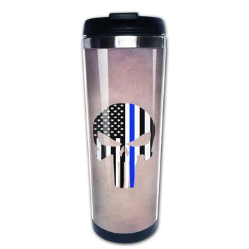 Thin Blue Line Skull coffee mug picture insert tazas stainless steel tumbler caneca tea Cups