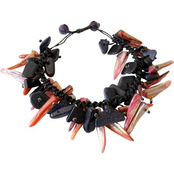 Pink Mother of Pearl Bracelet with Blue Goldstone