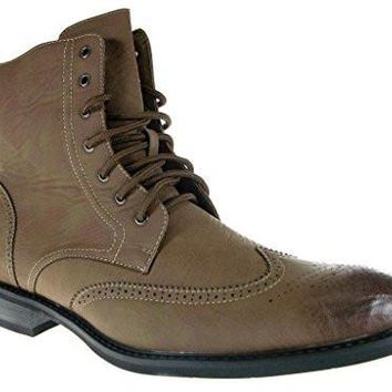 Delli Aldo Men's 828 Wing Tip Ankle High Lace Up Boots