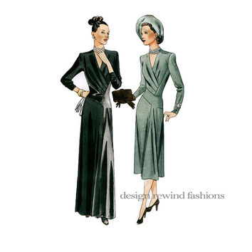 1940s EVENING Or COCKTAIL DRESS Pattern Vogue 2354 Vintage Original Designs 1947 Reissue Bust 36 Size 14 UnCUT Women's Gown Sewing Patterns