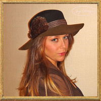 Reconstructed Vintage Women's Two Toned Wide Brim Bowler Hat Annie Hall Style Hipster Boho Chic