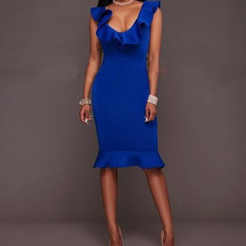 Blue Flounced Midi Dress