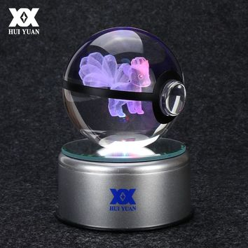 Pokemon Go Ninetales 3D Crystal Ball Lamp Desktop Decoration Glass Ball Night Light LED Colorful Rotate Base HUI YUAN Brand