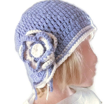 Cloche Hat Crocheted in Lilac with a Lilac & Cream Flower. Fashion Accessories for Women, Beanie, Winter warmers,