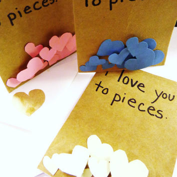 valentines day card i love you to pieces 3d green hearts on brown handmade blank inside hand made sweet valentine card