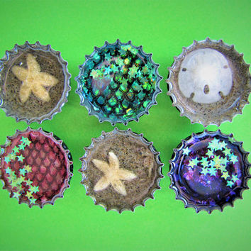 Mermaid Starfish Seahorse Sand Dollar Star Upcycled Bottle Cap Resin Magnets Handmade Recycled Reclaimed Repurposed Ceramic Magnet