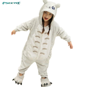Pijamas kids winter Flannel hooded animal Totoro children's pajamas for baby Girl boys sleepwear animal pajamas one piece