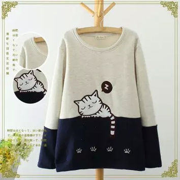 Block Cat Embroidered Sweater