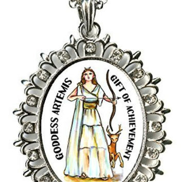 "Goddess Artemis Gift of Achievement Huge 2 1/2"" Silver Medallion Rhinestone Pendant"