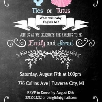Ties or Tutus Gender Reveal Baby Shower Invitations