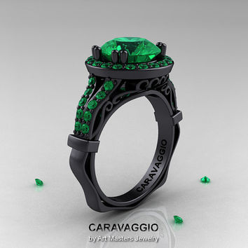 Caravaggio 14K Black Gold 3.0 Ct Emerald Engagement Ring, Wedding Ring R620-14KBGEM
