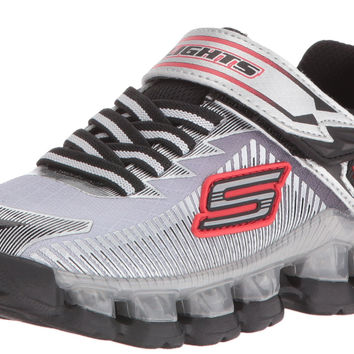 Skechers Kids Flashpod Gore And Strap Light Up Sneaker (Little Kid) Silver/Black Little Kid (4-8 Years) 10.5 M US Little Kid '