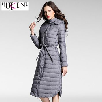 HIJKLNL Long Hooded Ultra Light Down Jackets for Women 2017 Winter Feather Duck Down Puffer Jacket Coat Outwear Parkas NA246