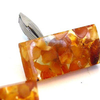 Vintage Large Sized Amber Colored Lucite Cufflinks - Rectangle Shaped Retro Men's Cuff Links - Hallmarked Orange Lucite with Inclusions