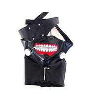 High Quality Hot Sales Halloween Anime Cosplay Tokyo Ghoul Kaneki Ken Mask Adjustable Zipper Masks PU Leather Cool Mask+Blinder