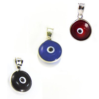 Evil Eye Pendants Charms 12mm Findings Blue Red Black Evil Eye Beads Sterling Silver