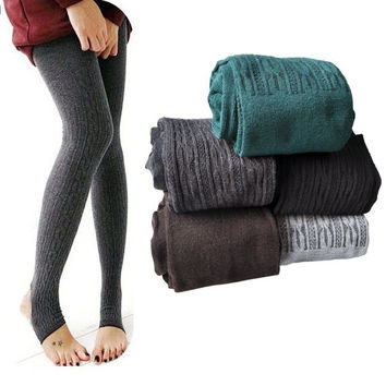 Women's Comfortable Winter Warm Cotton Tights Pants Leggings Stirrup 3399 = 1930486916