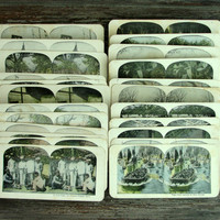Color Vintage Stereoview Cards, Set of 23, Stereoscope Cards, 3D Photo Viewer Cards, Images, Stereo View Cards