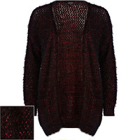 River Island Womens Dark red fluffy lurex cardigan