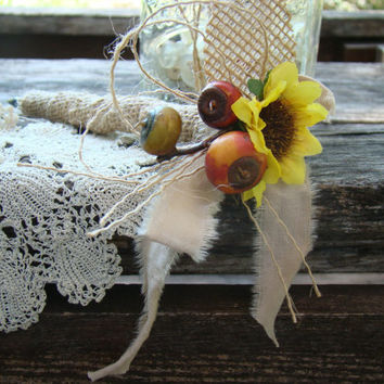 Burlap Guest Book Pen, Fall Wedding, Sunflower, Rustic Burlap Wedding