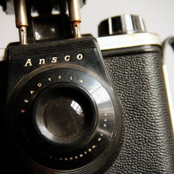 1950s Ansco Readyflash Camera with Flash and Side Grip Handle / Industrial Vintage Home Decor / Black and Silver Metal