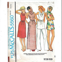 McCalls 5560 Pattern for Misses' Dress, Top, Pants, Shorts, Stretchable Knits, Sz Petite 6-8, From 1977, Vintage Pattern Home Sew Beach Wear