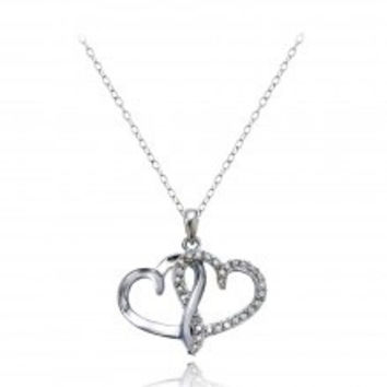 Sterling Silver 1/4ct Diamond Double Open Heart Necklace