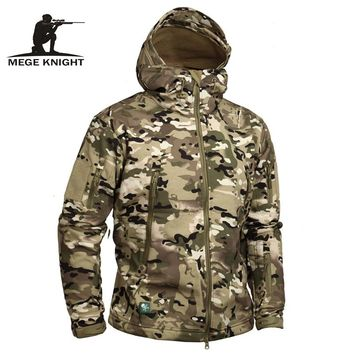 Mege Knight Camouflage Hooded Military Jacket for Men -  Sharkskin Softshell US Army Tactical Coat with Multicamo