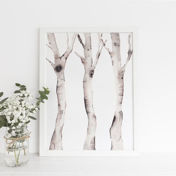Watercolor Birch Tree Forest Wall Art Print