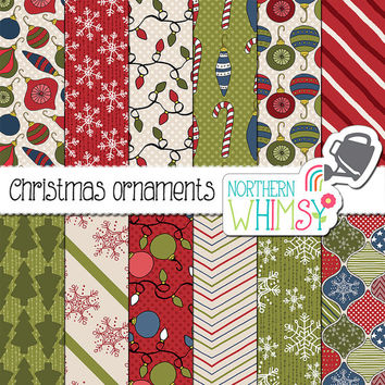 "Christmas Digital Paper - ""Christmas Ornaments"" - hand drawn seamless patterns in red, green & navy blue - scrapbook paper - commercial use"
