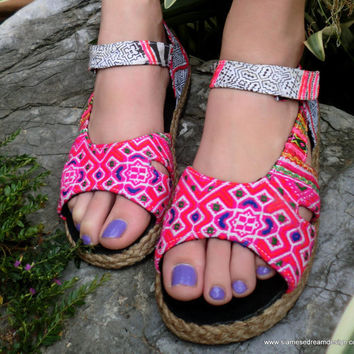 Espadrille In Colorful Hmong Embroidery &  Batik Ankle Strap Open Toe Mary Jane  Flat Vegan Shoe
