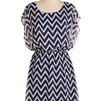 ModCloth Nautical Mid-length Short Sleeves Shift Miracle Moxie Dress in Navy and White