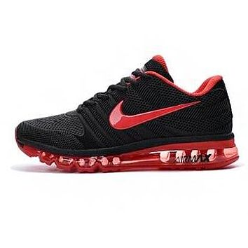 Nike Air Max Classic Hot Sale Women Men Air Cushion Sneakers Sport Shoes Black(Red Hook)