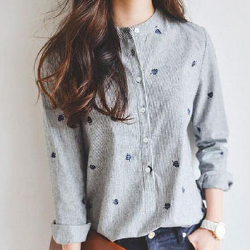 Autumn Leaves Embroidery Long Sleeve Women Blouse