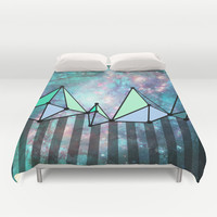 Intergalactic mountains (collab) Duvet Cover by Barruf designs