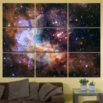 """Celestial Fireworks, Hubble 25th Anniversary HD Space Photo - 72"""" x 54"""", GIANT 9-Piece Canvas Wall Mural"""