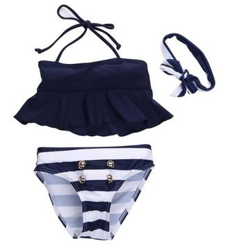 VONEZ9R 3Pcs Kids Baby Girls Bikini Suit Outfits Navy Striped Headband Swimsuit Swimwear Bathing Swimming Clothes New