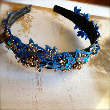 Peacock blue and antique gold beaded headband on a black ribbon satin headband. Ready to ship.