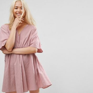 ASOS V Front V Back Smock Mini Dress With Ruched Tie Detail at asos.com