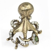 World Pride Vintage Bronze Adjustable Crystal Rhinestone Octopus Ring