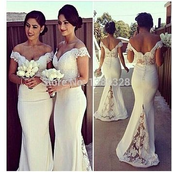 Sexy Sweetheart Lace Cap Sleeves Sexy Bridesmaid Dresses 2015 See Through Custom Made Mermaid Vestido De Festa De Casamento