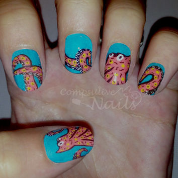Nail polish strips. TWO SETS of Nail decal wraps. Octopus nail art.