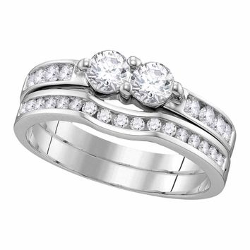 14kt White Gold Womens Round Diamond 2-Stone Hearts Together Bridal Wedding Engagement Ring Band Set 1.00 Cttw