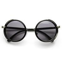 Steampunk Studio Cover Faux Leather Shield Round Sunglasses 9483