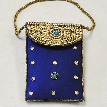 Designer Sequins and Crystals Embroidery Silk Purse Wristlet - Navy Blue