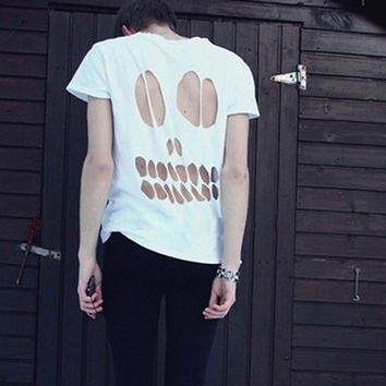 Hollow Out Skull Short Sleeve Round-neck Stretch Cotton Stylish Men's Fashion T-shirts [6541351235]