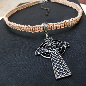 Natural Tan Leather Necklace:  Large Celtic Cross Men's Jewelry, Handmade Macrame Bohemian Unisex Choker Necklace