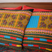 Boho Pillows Embroidered Yellow And Orange Colorful Hmong Cushion Cover 16 inch